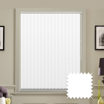 "Made to measure 5"" vertical blinds in Unicolour Naro White plain fabric"